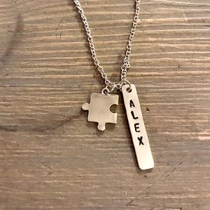 Hand stamped custom Autism support necklace